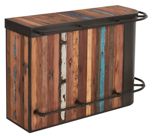 Modern Salvaged Wood Freestanding Bar, Right Configuration - SYMBIOZ Collection - Impact Imports