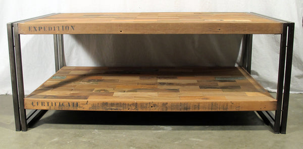 Boat Wood Coffee Table, 2 Shelf, Rectangular Shape - SAMUDRA Collection - Impact Imports