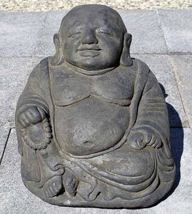 Small seated fat happy Buddha cast concrete garden stone statue gift idea.