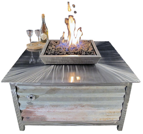 A Rustic Style Gas Fire Table • Stainless Steel • Square - Impact Imports