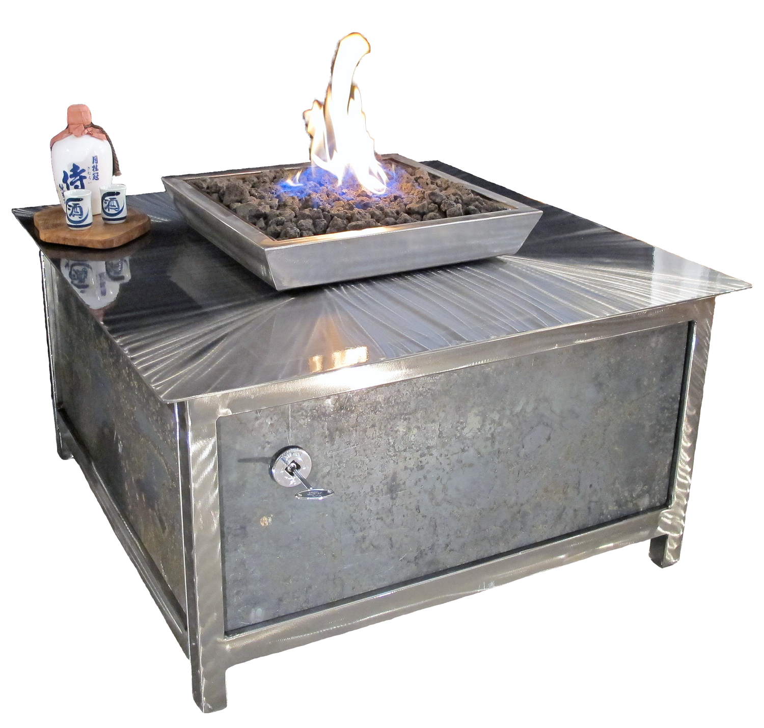 An Industrial Style Gas Fire Table • Stainless Steel • Square - Impact Imports