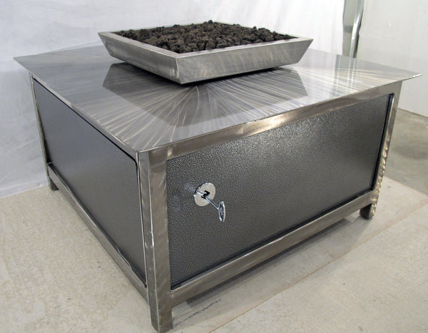 A Modern Style Gas Fire Table • Stainless Steel • Square - Impact Imports