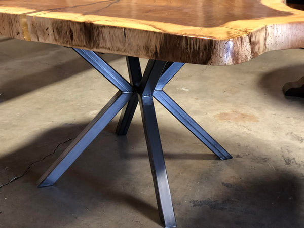 Heavy duty modern industrial tube steel star shaped design style table pedestal base.