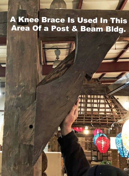 Picture of a teak knee brace and where it would be installed to connect and brace the intersection of a post and a beam.