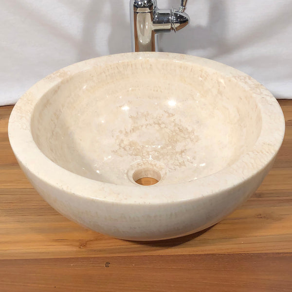 Honey Onyx & White Marble Vessel Sink, Round, #1 - Impact Imports