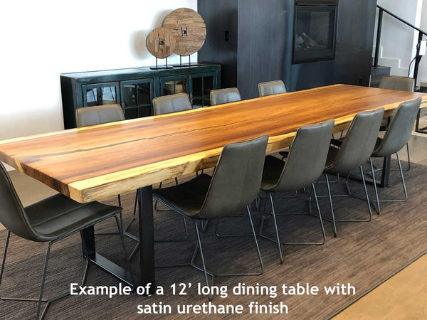 Sustainably Harvested Kiln Dried Natural live edge monkeypod or parota extra large wide jumbo wood slab dining table top from Impact Imports in Boise Idaho.