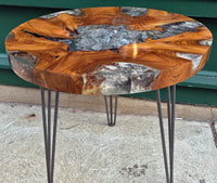 Reclaimed Teak & Resin Side Table, Round