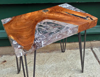 Reclaimed Teak and Resin Side Table, Hairpin Leg