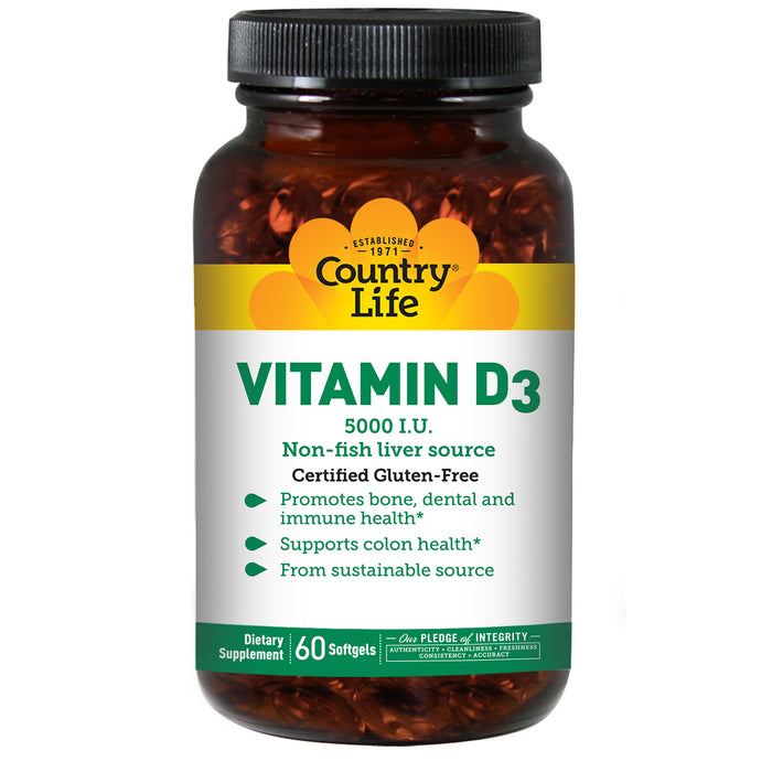 Country Life - Vitamin D3, Non-Fish 5000 IU - 60 Softgels