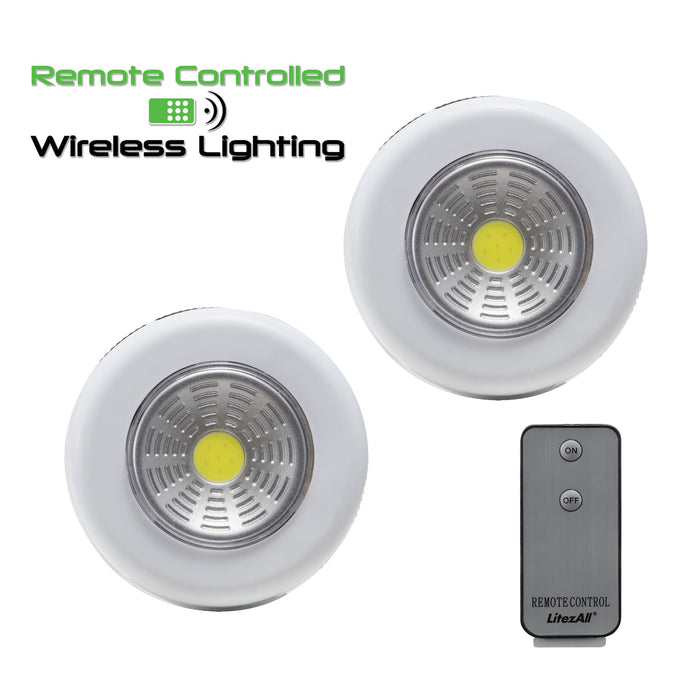 Promier LitezAll Remote Control Puck Light 2 Pack