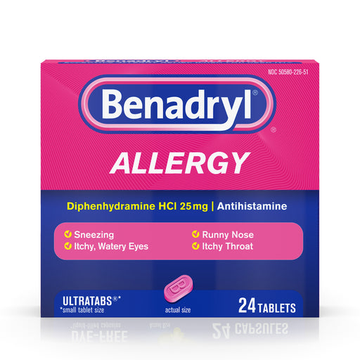 Benadryl Ultratabs Antihistamine Allergy Medicine Tablets, 24 ct