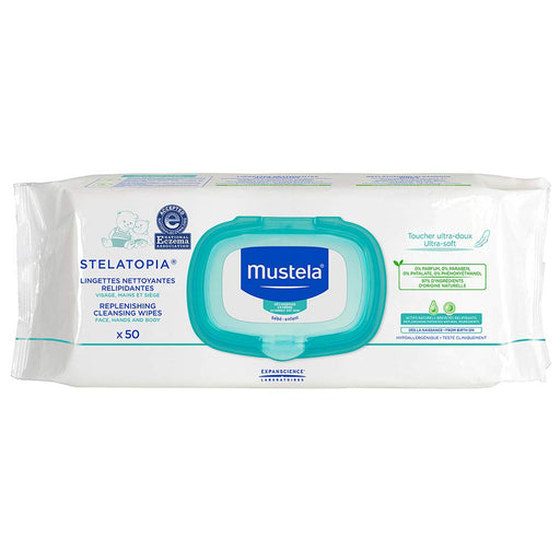 Mustela Stelatopia Replenishing Cleansing Wipes, for Eczema-Prone Skin, Natural Baby Wipes, Fragrance-Free, Alcohol-Free