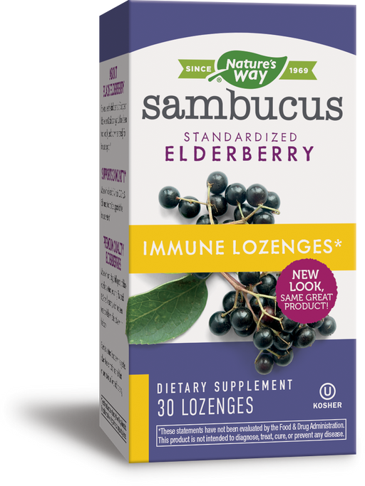 Natures Way Sambucus Immune Standardized Elderberry + Echinacea + Zinc + Vitamin C 30 Lozenges