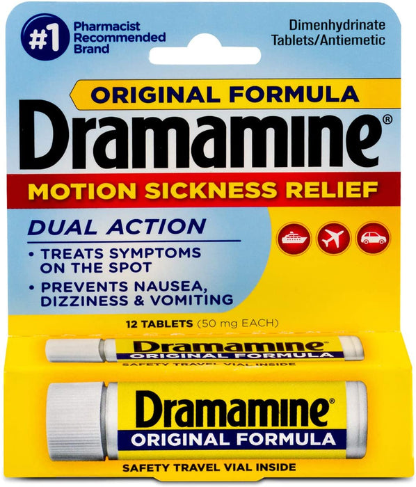 Dramamine Original Formula Motion Sickness Relief 12 Count