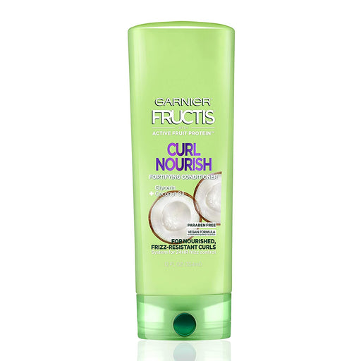 Garnier Fructis Curl Nourish Paraben-free Conditioner Infused with Coconut Oil and Glycerin, System for 24 Hour Frizz-Resistant Curls, 12 oz.