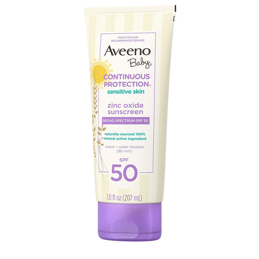 Aveeno Baby Continuous Protection Zinc Oxide Mineral Sunscreen Lotion for Sensitive Skin with Broad Spectrum SPF 50