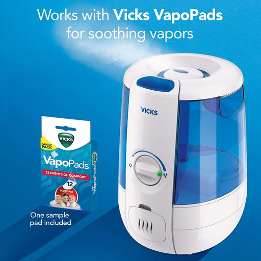 Vicks Ultrasonic Cool Relief Filter Free Humidifier with VapoSteam