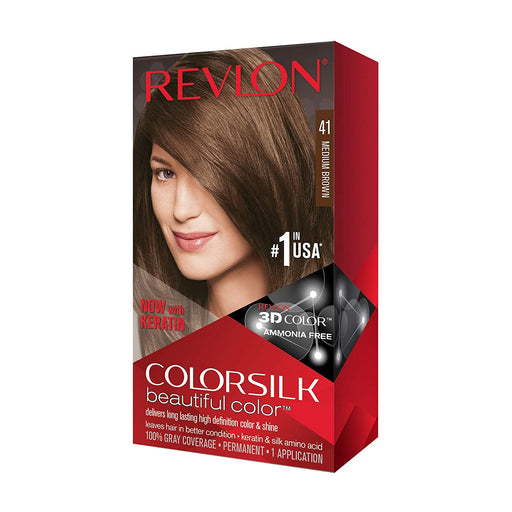 Revlon Colorsilk Beautiful Color, Permanent Hair Dye with Keratin, 100% Gray Coverage, Ammonia Free, 41 Medium Brown
