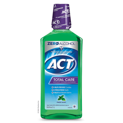 ACT Total Care Anticavity Fluoride Mouthwash Fresh Mint. 18 fl