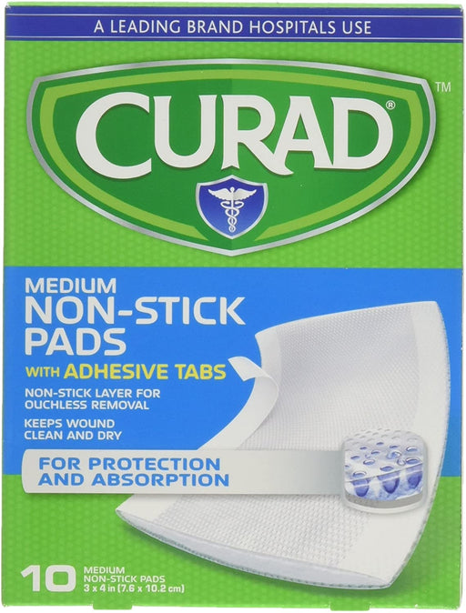 Curad Medium Non-Stick Pads with Adhesive Tabs