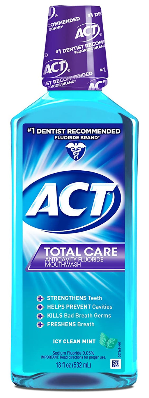 ACT Total Care Mouthwash, Icy Clean Mint. 18 OZ