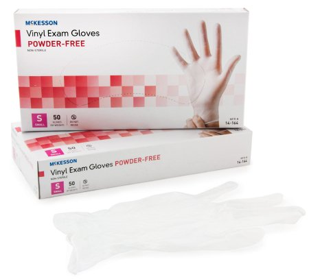 McKesson Vinyl Gloves. Non-Sterile Standard Cuff Length Smooth Clear Small 14-164