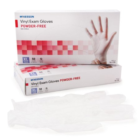 McKesson Vinyl Gloves. Non-Sterile Standard Cuff Length Smooth Clear XLarge 14-170