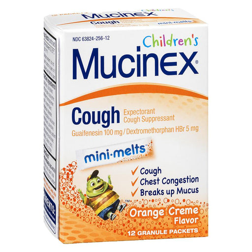 Children's Mucinex Cough Expectorant and Suppressant, Mini-Melts Orange Creme 12.0 ea