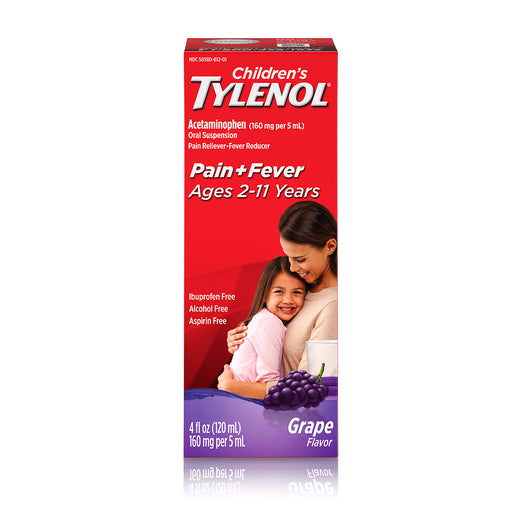 Children's TYLENOL Acetaminophen Oral Suspension Pain & Fever Reducer Grape