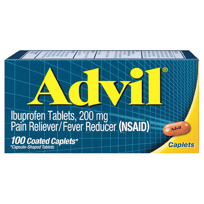 Advil Coated Caplet Pain Reliever / Fever Reducer , 200mg Ibuprofen 100 ea