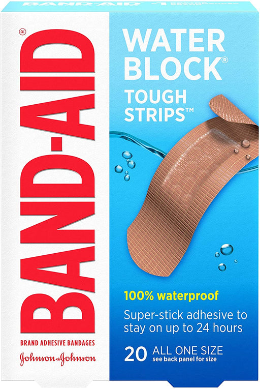 Band-Aid Brand Water Block Waterproof Tough Adhesive Bandages, All One Size