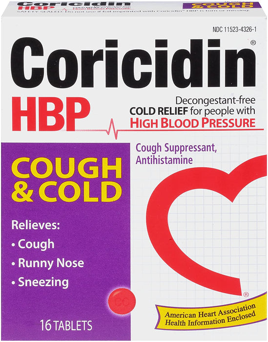 Coricidin HBP Antihistamine Cough & Cold Suppressant for People with High Blood Pressure, 16-Count