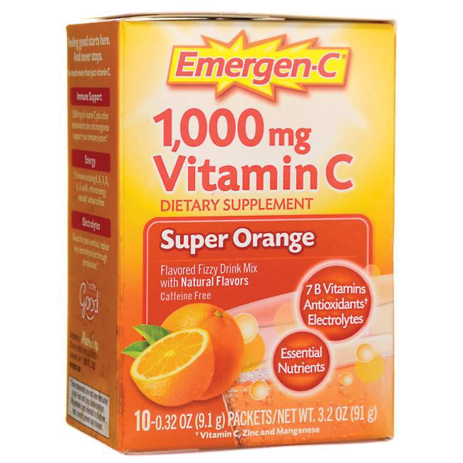 Emergen-C Vitamin C Fizzy Drink Mix Super Orange 1000 mg Packets