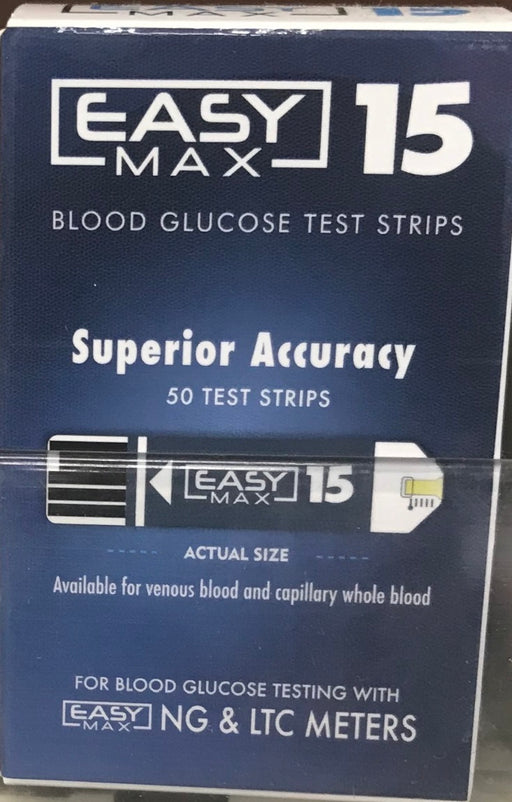 EasyMax 15 Blood Glucose Test Strip Box of 50