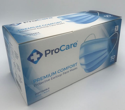 Premium Comfort Disposable Mask, box of 50 masks. (Blue)
