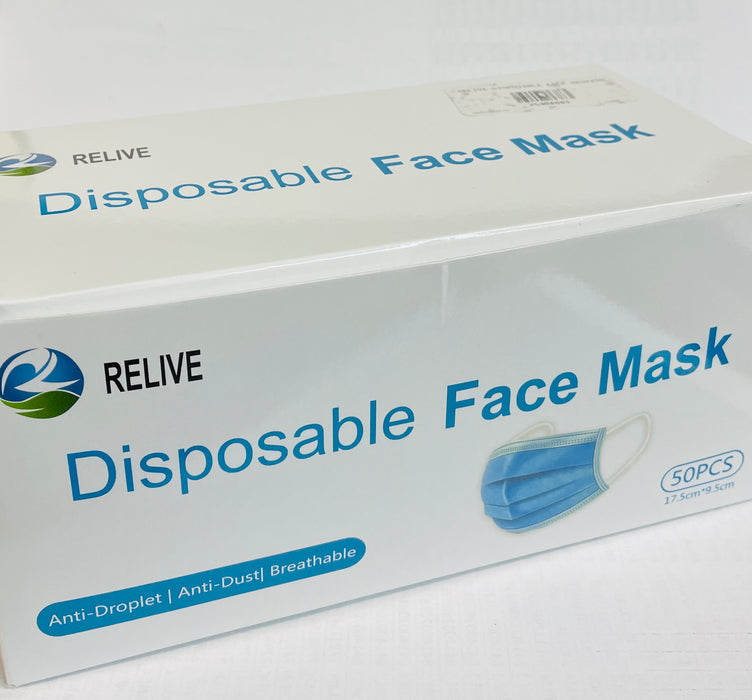 Relive Disposable Mask, box of 50 masks. (Blue)