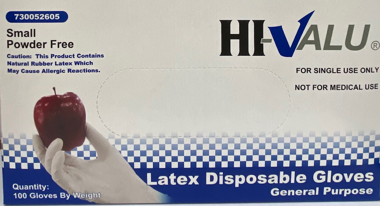 HI-VALU POwder Free Latex Disposable Gloves , SIze S, 100 Gloves