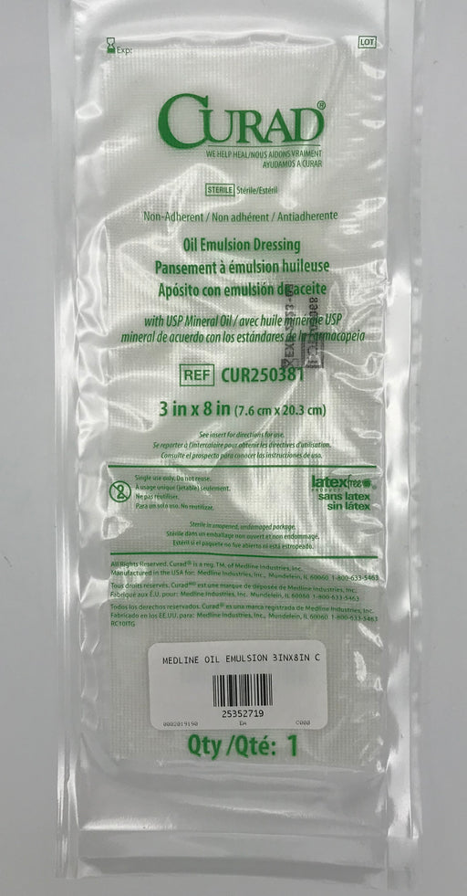 Curad Oil Emulsion Dressing. 3 X 8.