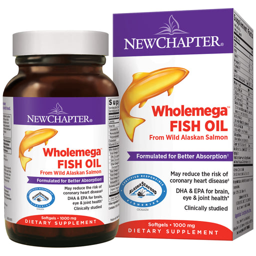 New Chapter Wholemega Wild Alaskan Salmon Oil Supplement 2000mg