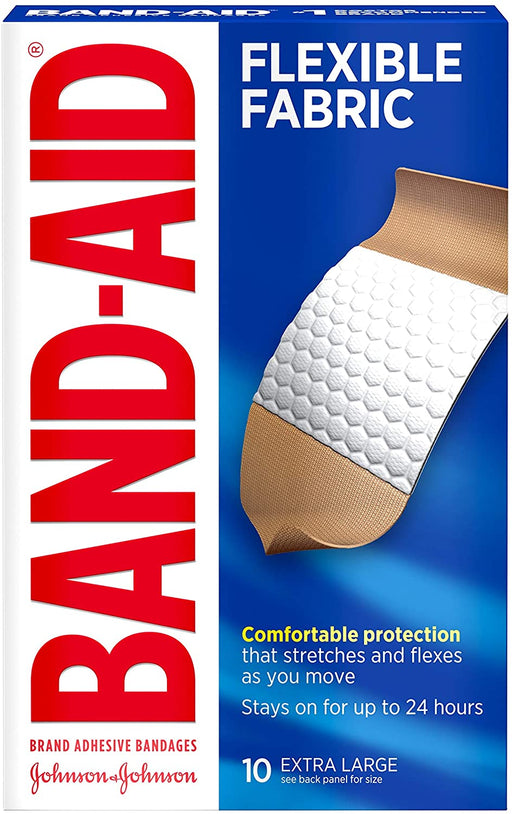 Band-Aid Adhesive Bandages Flexible Fabric, Extra Large, 10 Count