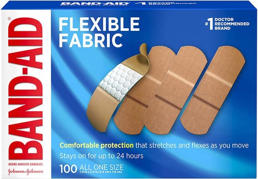 Band-Aid Adhesvie Bandages Flexible Fabric ALL ONE SIZE