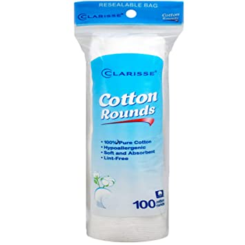 Clarisse Cotton Pads, Round, 100 Ct