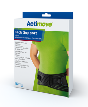 Actimove Back Support 4 Stays Adjustable Double Layer Compression