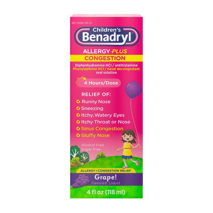 Children's Benadryl Allergy Plus Congestion Liquid Grape 4 fl. oz