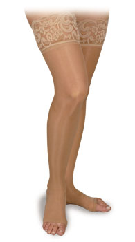 Activa Sheer Therapy Thigh High with Lace Top, Open Toe MODEL: H202