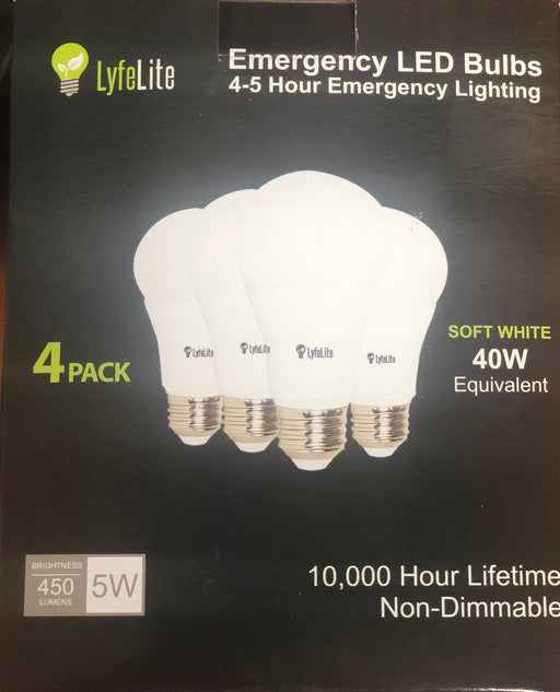 Lyfelite Emergency LED Bulbs 4 Pack (4 Bombillos Led Recargables)