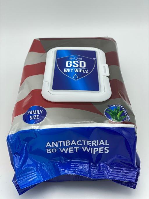 GSD antibacterial wet wipes, with aloe vera extract, 80  count