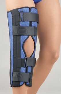 FLA ORTHOPEDICS BREATHABLE UNIVERSAL TRI-PANEL FOAM KNEE IMMOBILIZER BLUE