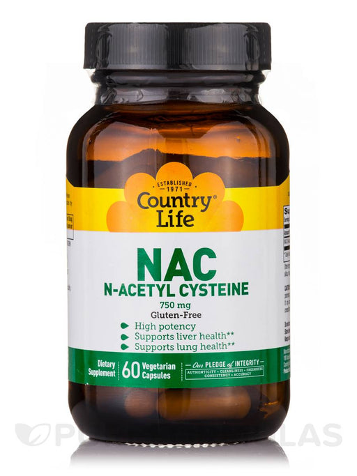 Country Life NAC 750mg N-Acetyl Cysteine High Potency Antioxidant Free-Radical Protection & Immune System, Liver & Lung Health Support - Non-GMO, Gluten-Free, Vegan Supplement - 60 Vegan Caps