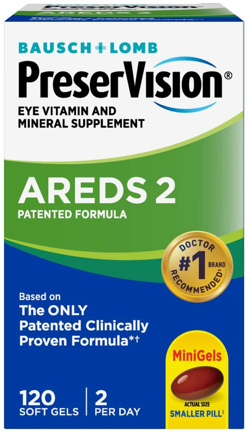 Bausch + Lomb PreserVision AREDS 2 Formula Eye Vitamin & Mineral Supplement Softgels 120 soft gels